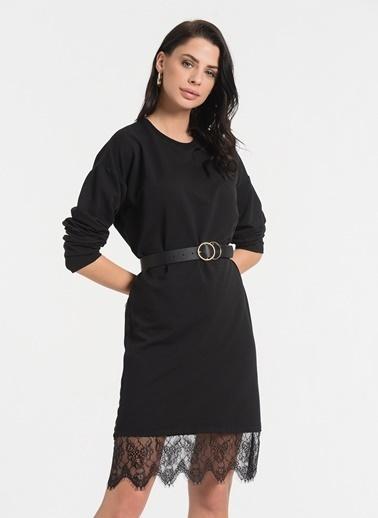 Styletag Etekleri Dantel Detaylı Elbise Siyah